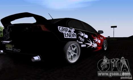 Mitsubishi Lancer Evolution X 2008 for GTA San Andreas back view