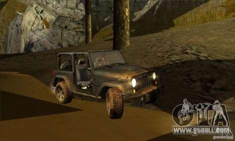 Jeep Wrangler for GTA San Andreas inner view