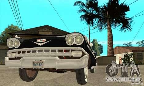 Chevrolet Impala 1958 for GTA San Andreas upper view