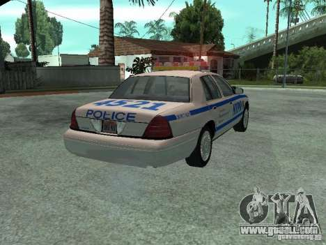 Ford Crown Victoria NYPD for GTA San Andreas back left view