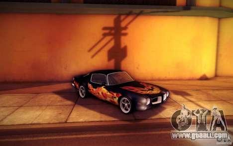 Pontiac Firebird 1970 for GTA San Andreas bottom view