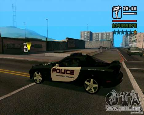Mazda RX-7 FD3S Police for GTA San Andreas back left view