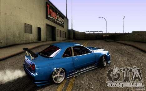 Nissan Skyline GT-R34 for GTA San Andreas back left view