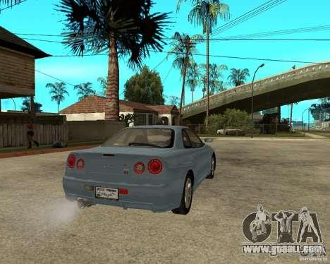 Nissan SkyLine R-34 Tunable for GTA San Andreas back view
