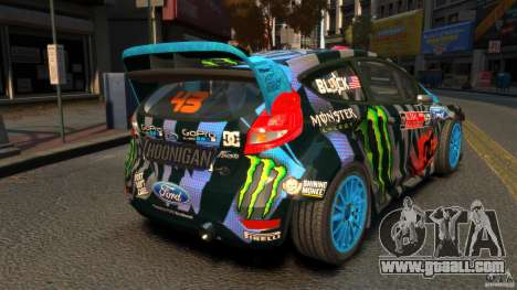 Ford Fiesta Rallycross Ken Block (Hoonigan) 2013 for GTA 4 back left view