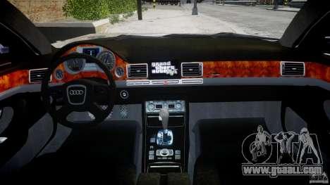 Audi S8 D3 2009 for GTA 4 bottom view