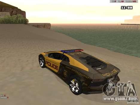 Lamborghini Aventador LP700-4 Police for GTA San Andreas back left view