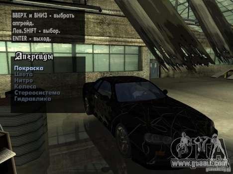 Nissan Skyline GT-R34 V-Spec for GTA San Andreas inner view
