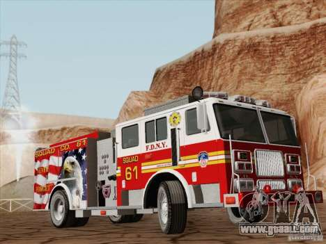Seagrave Marauder. F.D.N.Y. Squad 61. for GTA San Andreas back left view