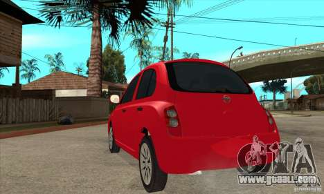 Nissan Micra for GTA San Andreas back left view