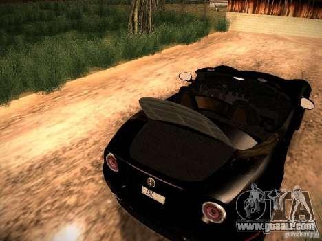 Alfa Romeo 8C Spider 2012 for GTA San Andreas inner view
