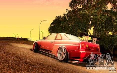 Nissan Skyline GT-R34 for GTA San Andreas left view