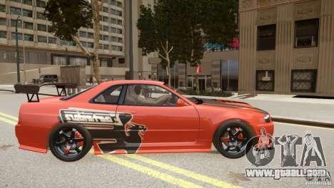 Nissan Skyline GT-R R34 Underground Style for GTA 4 inner view