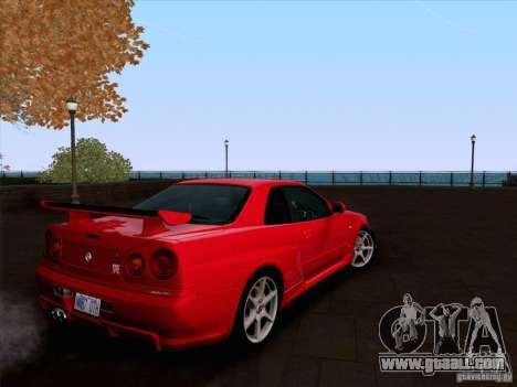 Nissan Skyline GTR R34 for GTA San Andreas inner view
