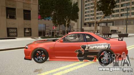 Nissan Skyline GT-R R34 Underground Style for GTA 4 left view