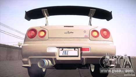 Nissan Skyline R34 for GTA San Andreas wheels