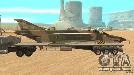 Flatbed trailer with dismantled F-4E Phantom for GTA San Andreas left view