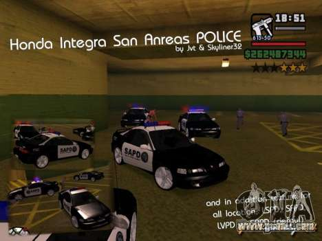 Honda Integra 1996 SA POLICE for GTA San Andreas