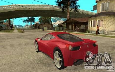 Ferrari F458 for GTA San Andreas back left view