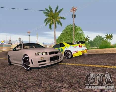 Nissan Skyline R34 Z-Tune V3 for GTA San Andreas upper view