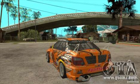 Subaru Impreza D1 WRX Yukes Team Orange for GTA San Andreas back left view
