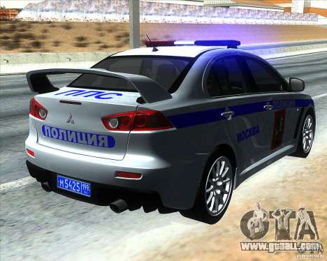 Mitsubishi Lancer Evolution X PPP Police for GTA San Andreas back left view