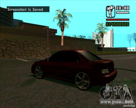 Subaru Impreza tuning for GTA San Andreas back left view