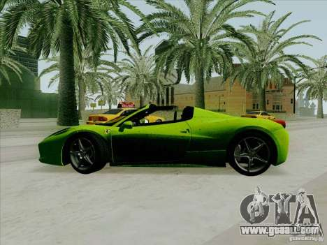 Ferrari 458 Spider for GTA San Andreas left view