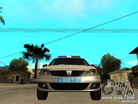 Dacia Logan Police for GTA San Andreas right view