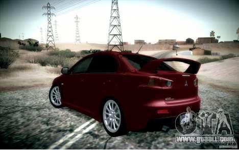 Mitsubishi Lancer Evolution X for GTA San Andreas back left view