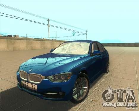 BMW 3 Series F30 2012 for GTA San Andreas interior