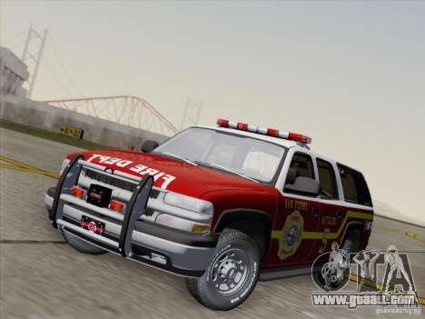 Chevrolet Suburban SFFD for GTA San Andreas back left view