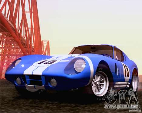Shelby Cobra Daytona Coupe 1965 for GTA San Andreas back left view