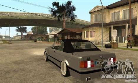 BMW E30 325i Cabrio 1989 for GTA San Andreas back left view