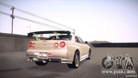 Nissan Skyline R34 for GTA San Andreas interior