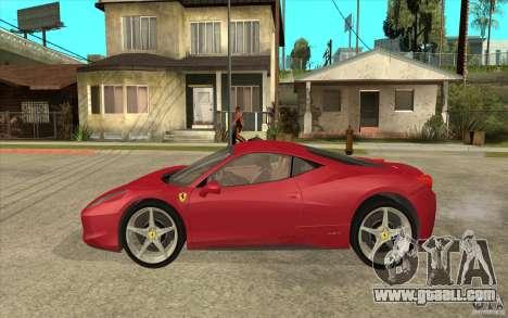 Ferrari F458 for GTA San Andreas left view