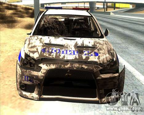 Mitsubishi Lancer Evolution X PPP Police for GTA San Andreas interior