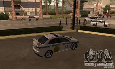 Mitsubishi Lancer Evolution X Police Of Kazakhst for GTA San Andreas left view