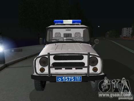UAZ-31512 Police for GTA San Andreas back view