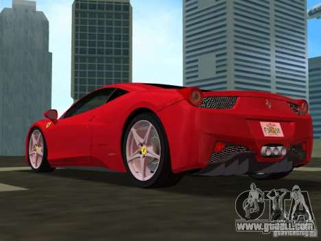 Ferrari 458 Italia for GTA Vice City back view