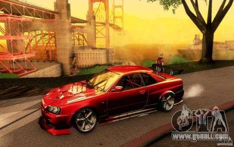 Nissan Skyline GT-R34 for GTA San Andreas interior