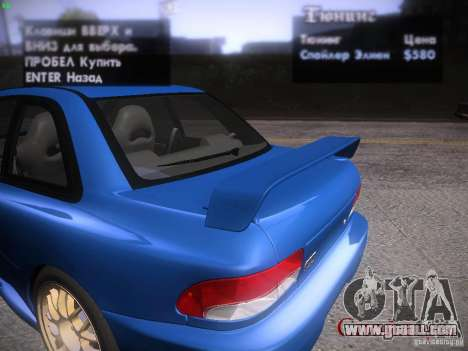 Subaru Impreza 22b Tunable for GTA San Andreas upper view