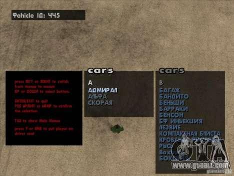 Vehicle Spawner Premium-Spauner machines for GTA San Andreas second screenshot
