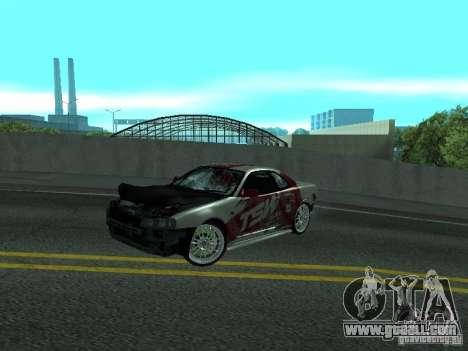 Nissan Skyline R 34 for GTA San Andreas inner view