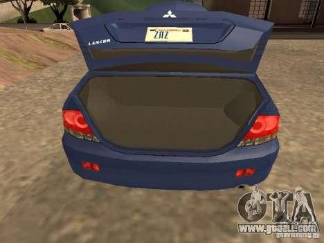 Mitsubishi Lancer 1.6 for GTA San Andreas back view