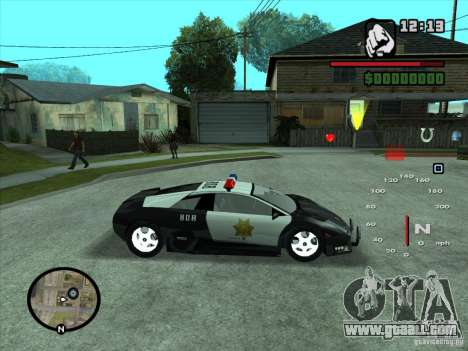 Lamborghini Murcielago Police for GTA San Andreas inner view
