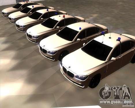 BMW 750Li 2010 for GTA San Andreas inner view