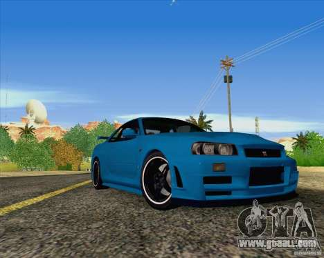 Nissan Skyline R34 Z-Tune V3 for GTA San Andreas back left view