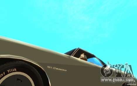 Chevrolet El Camino 1972 for GTA San Andreas inner view