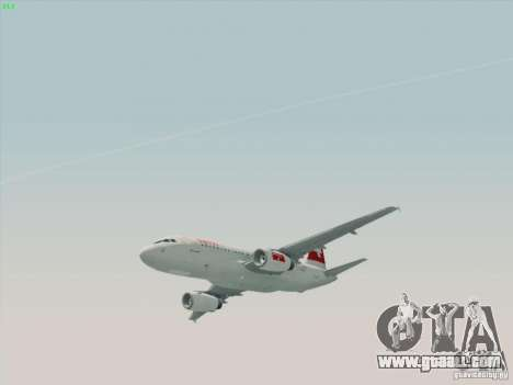 Airbus A319-112 Swiss International Air Lines for GTA San Andreas back left view